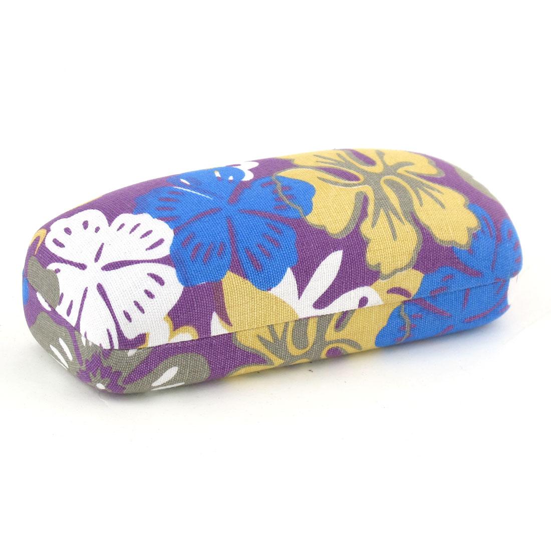 Colorful Flower Printed Farbic Coated Metal Eyeglasses Holder Case