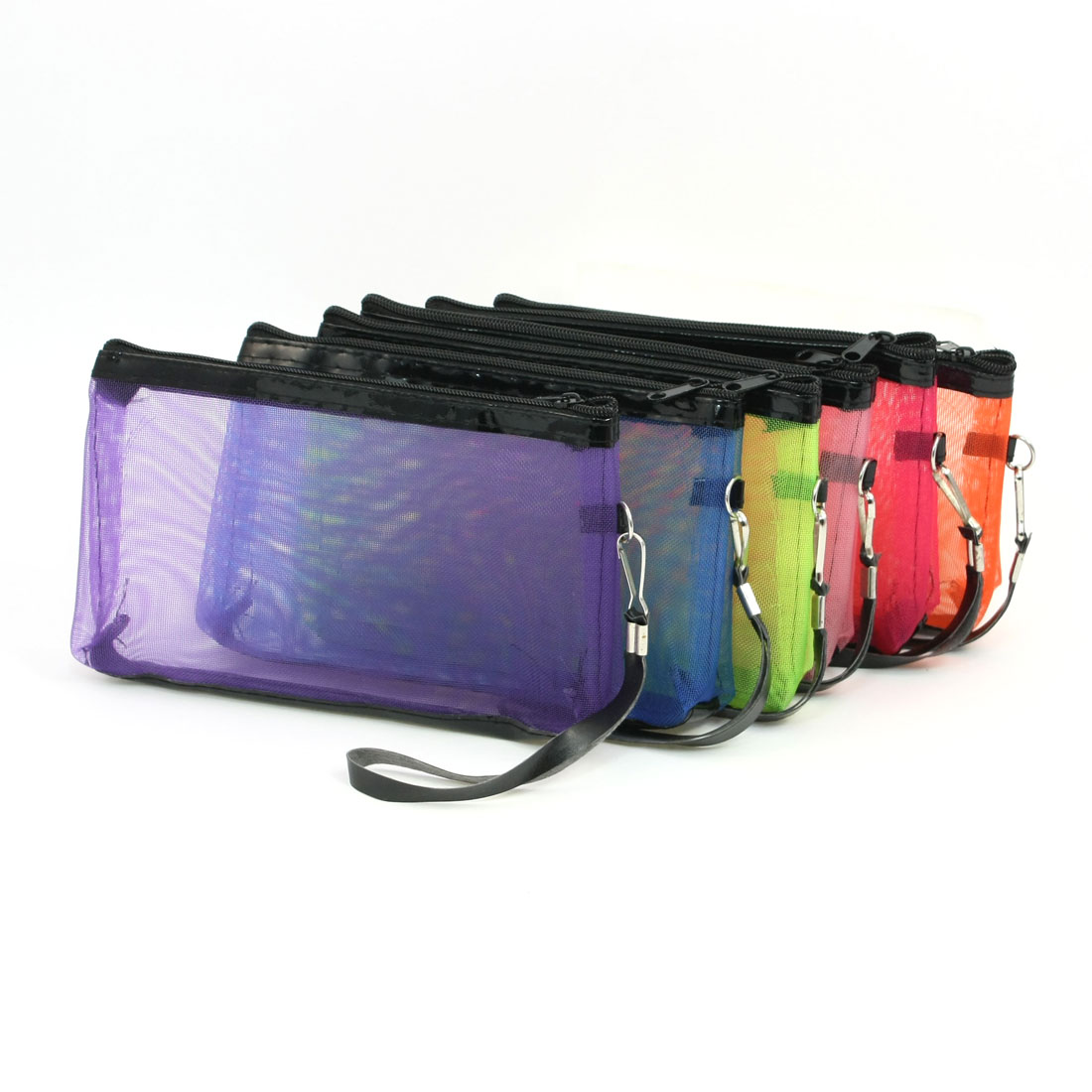 6 Pieces Multi Color Mesh Design Zipper Make Up Bag for Ladies