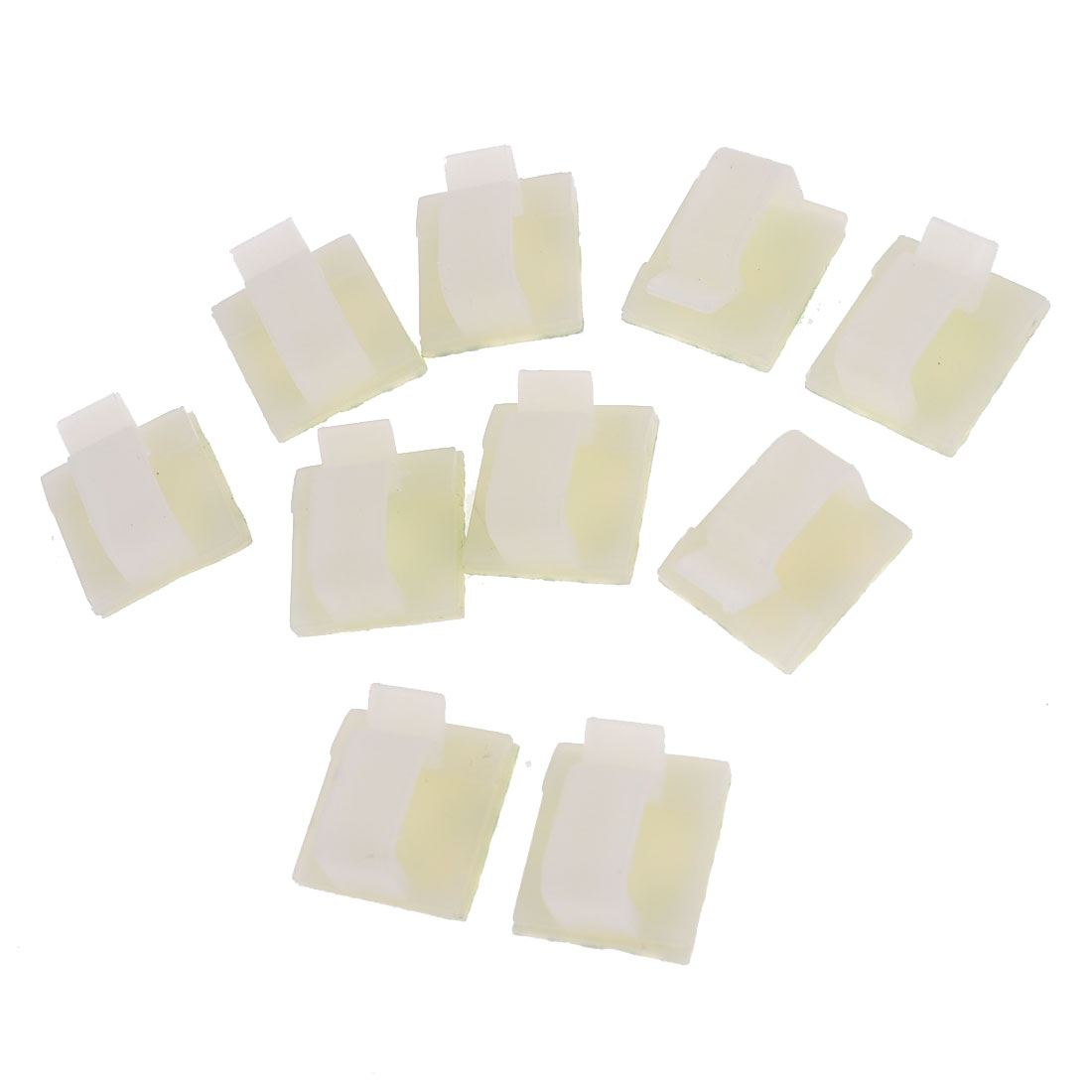 10 Pcs Rectangle Self-adhesive 10mm Cable Tie Mount Clips White