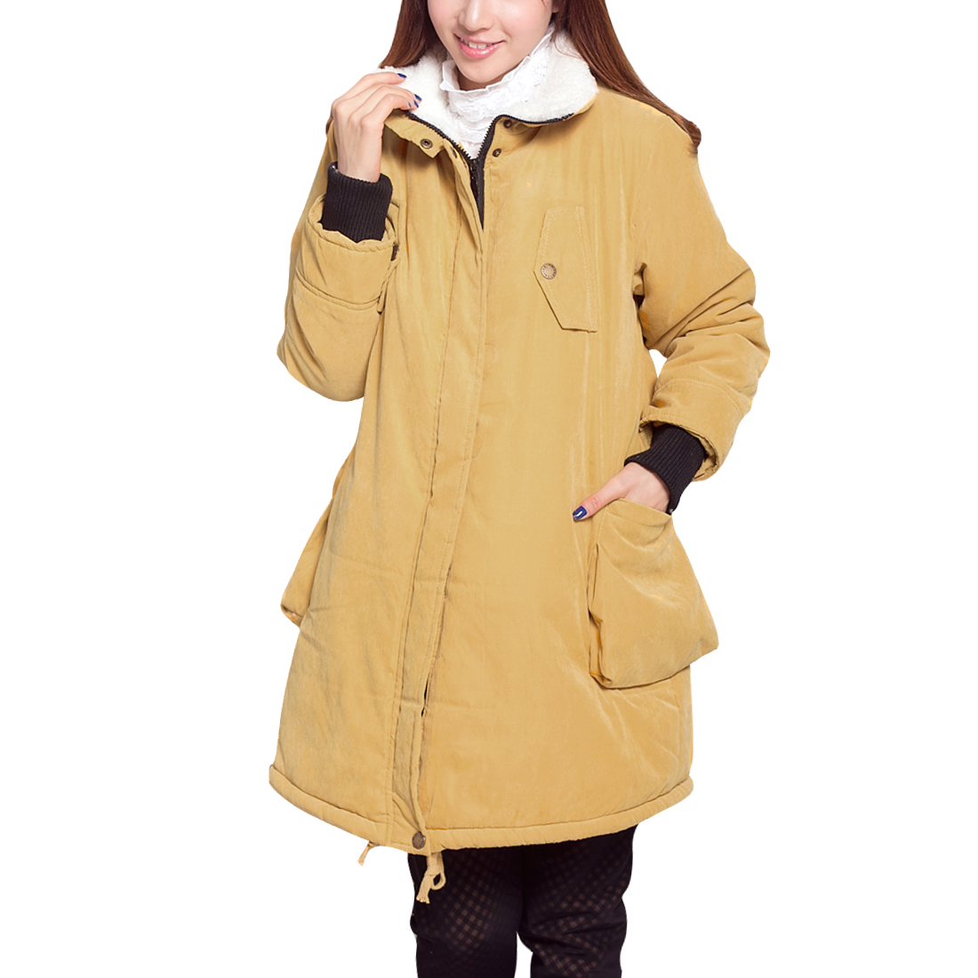 Maternity Chic Yellow Lamb Wool Warm Thick Long Sleeves Coat M