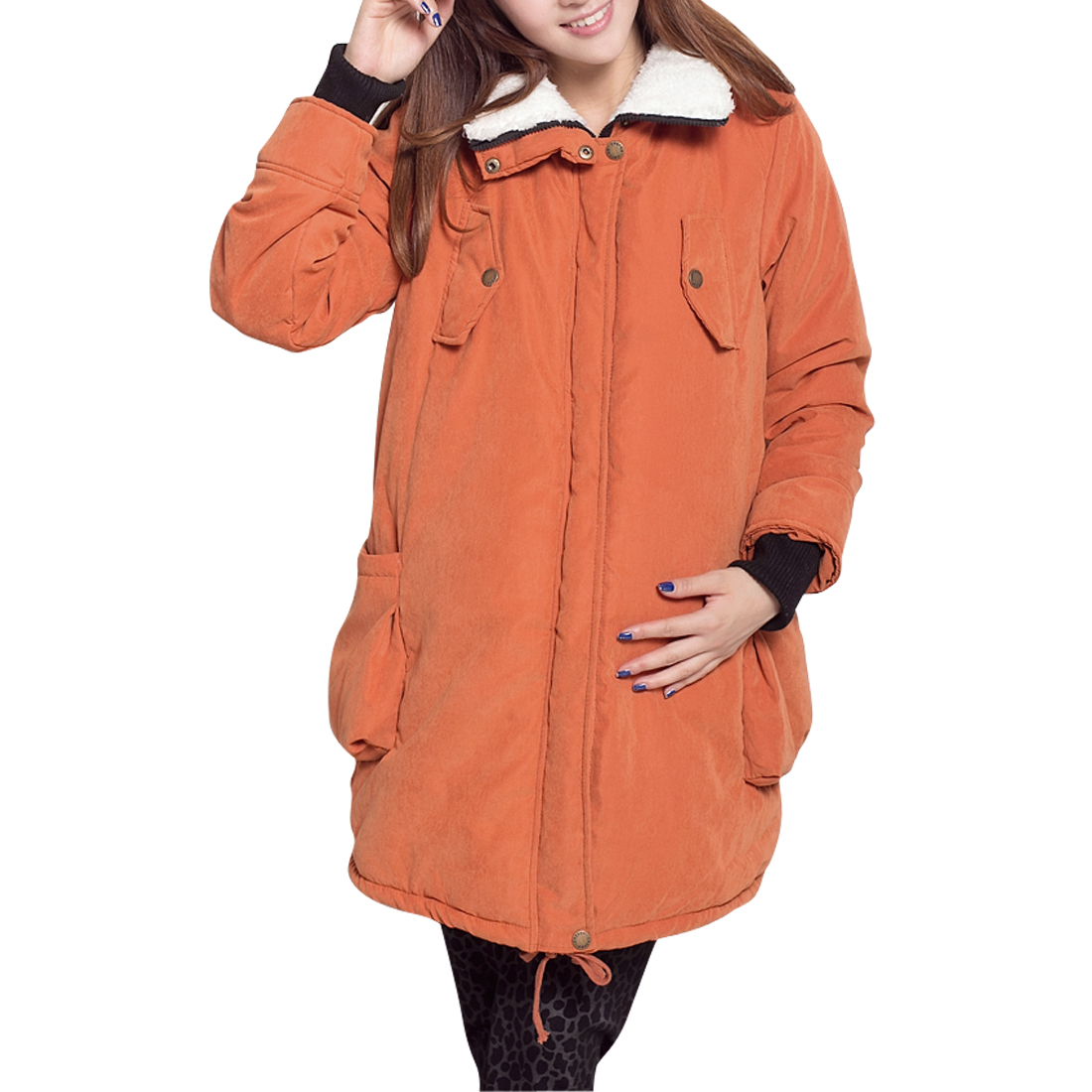 Maternity Chic Orange Long Sleeve Convertible Collar Padded Coat M
