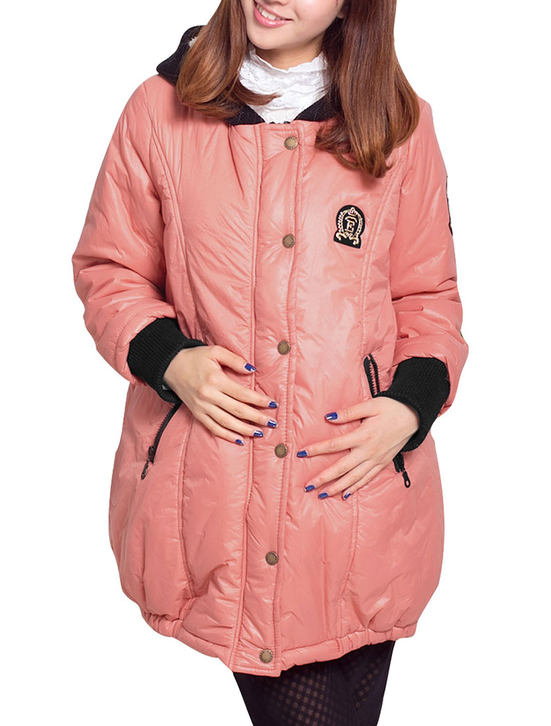 Pregnant Women Zip Up Long-sleeved Warm Thick Pink M Winter Coat