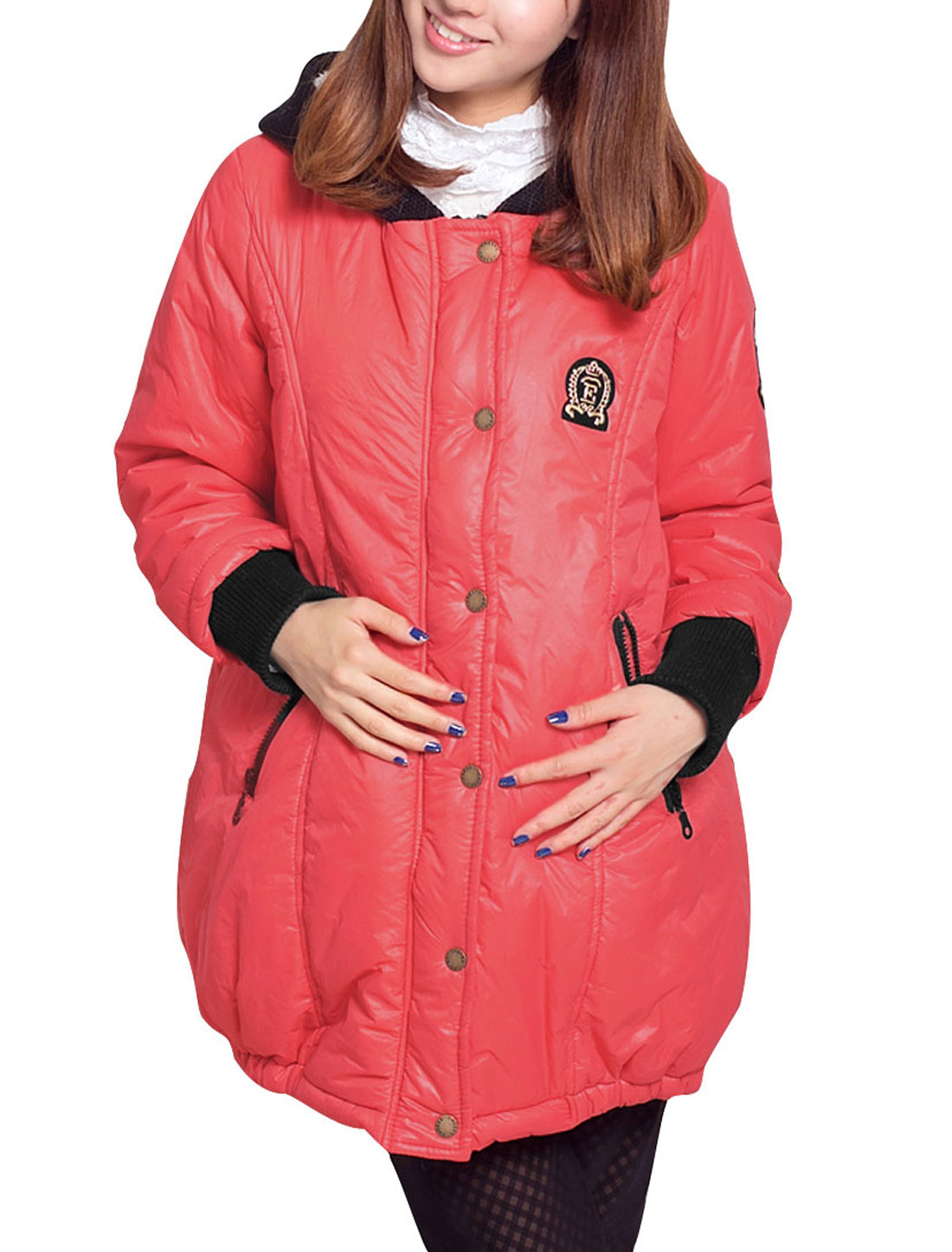 Motherhood's Winter Zip Up w Pockets Long Sleeves Red Padded Coat M