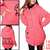 Watermelon Red Single-Breasted Front Hooded Padded Coat for Motherhood L