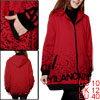 Pregnant Woman Letters Printed Slant Pockets Front Red Padded Coat M