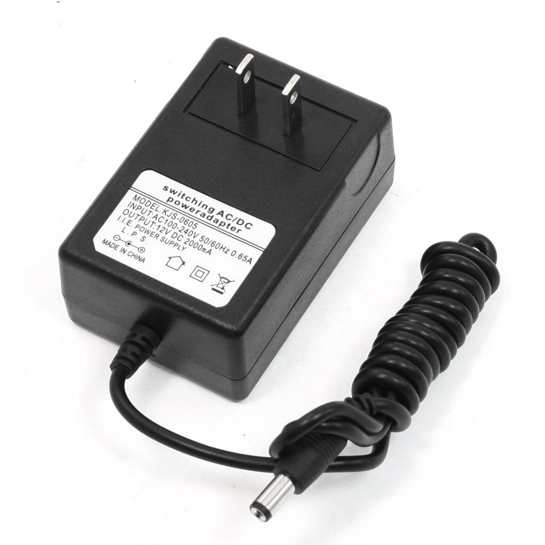 US Plug to DC 5.5 x 2.1mm 12V 2000mA Output AC100-240V Adapter Black
