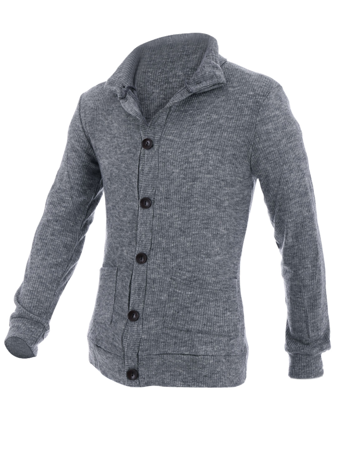 Mens Stand Collar Single-Breasted Front Heather Gray Cardigan Coat M