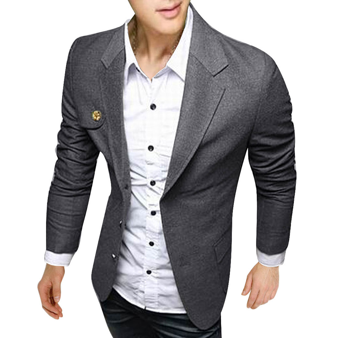 Men Peaked Lapel Single Breasted Pockets Below Blazer Gray L