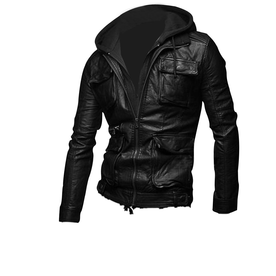 Men's Long Sleeve Zip Up Fake Two Piece Hooded Black Leather Jacket M