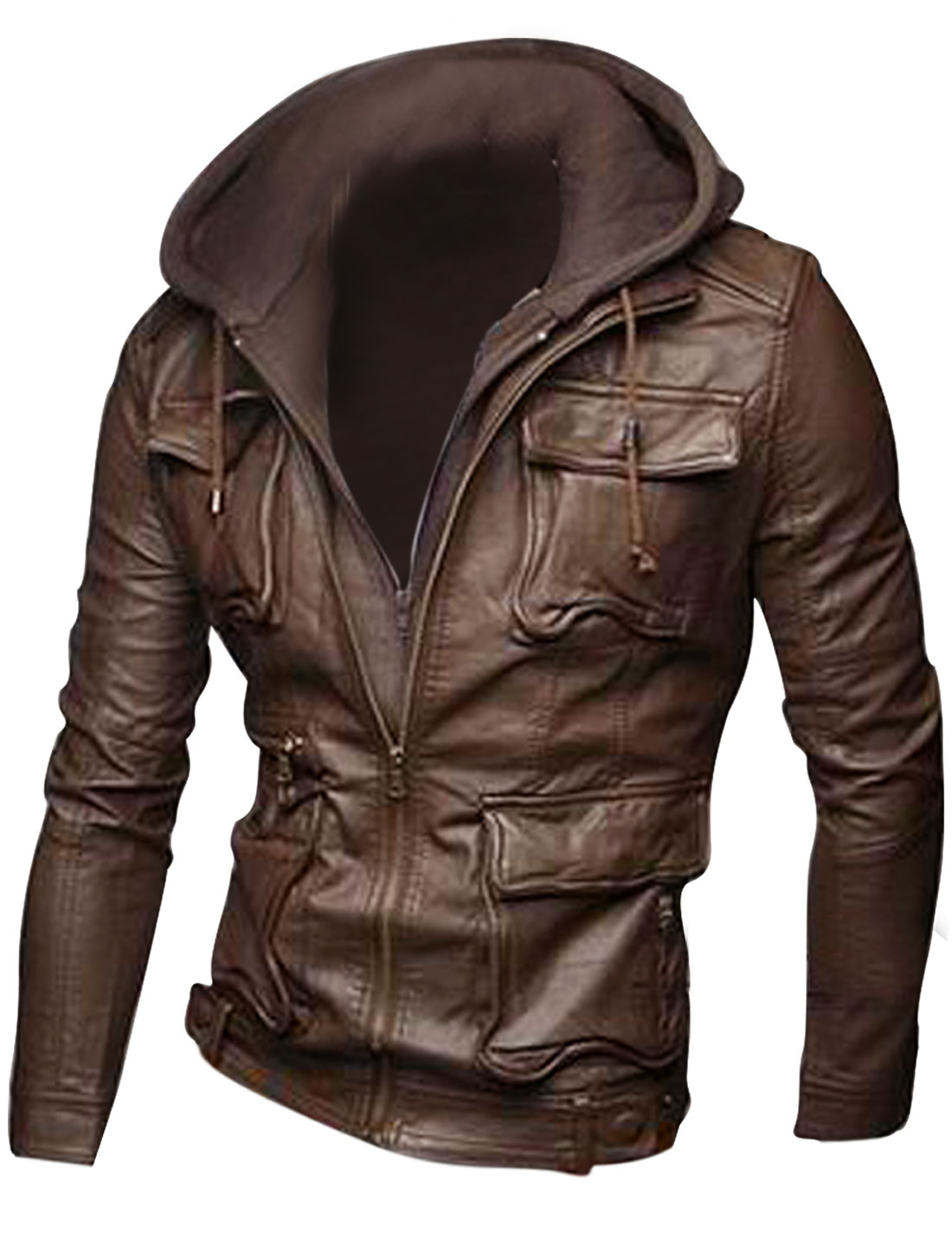 Men's Removable Hat Zip Up Stylish Long-sleeved Brown Leather Jacket M
