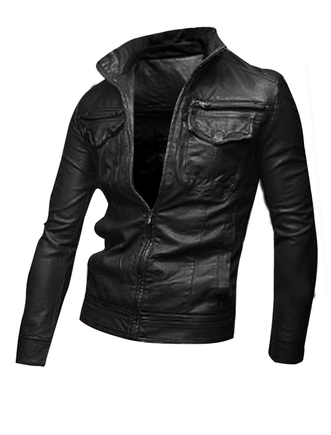 Man Pure Black Color 4 Pockets Design Front Faux Leather Jacket Coat M