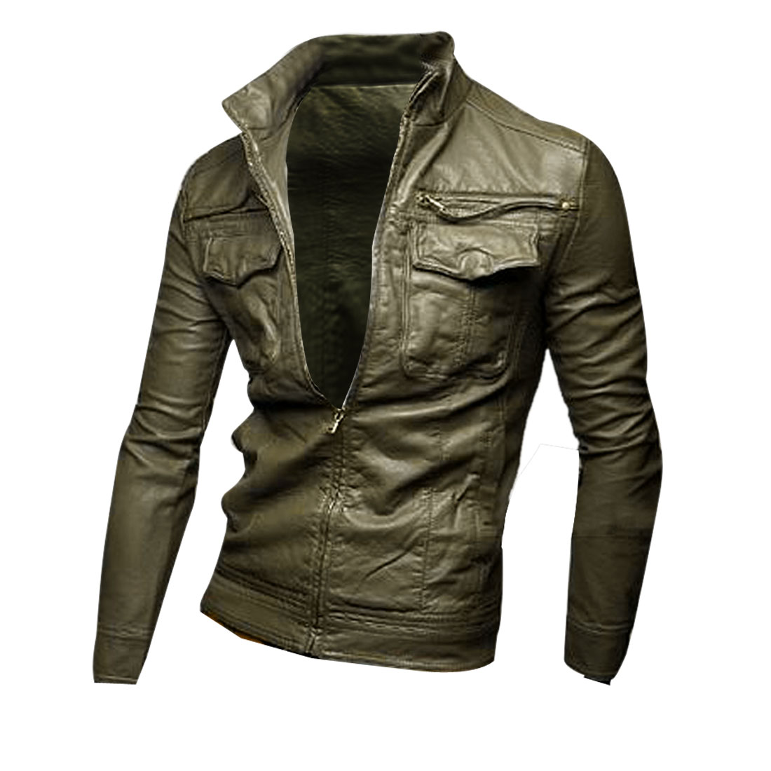 Mens Chic Stand Collar Long Sleeve Army Green Faux Leather Jacket Coat M