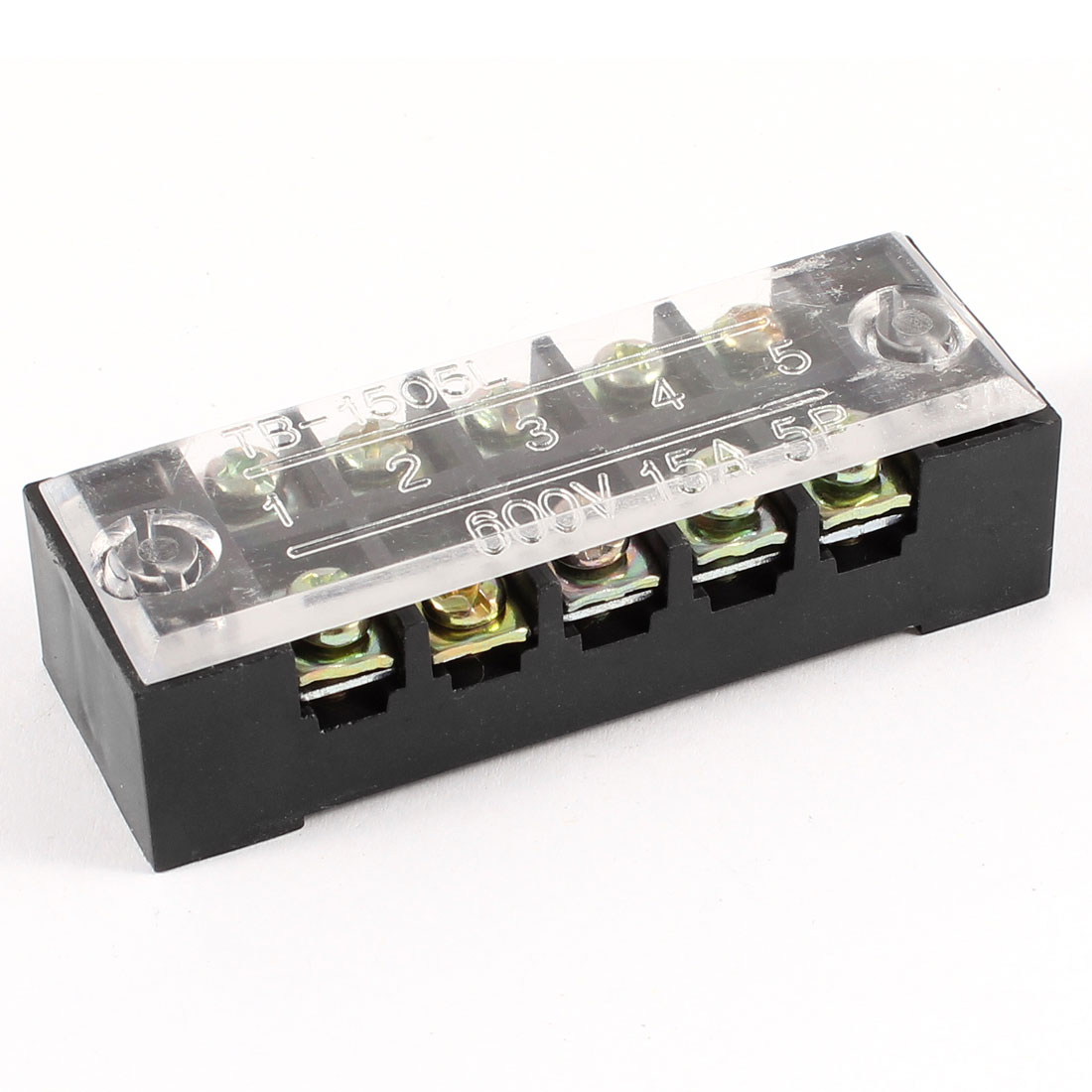 600V 15A Dual Rows 5P 5 Positions Covered Barrier Screw Terminal Block
