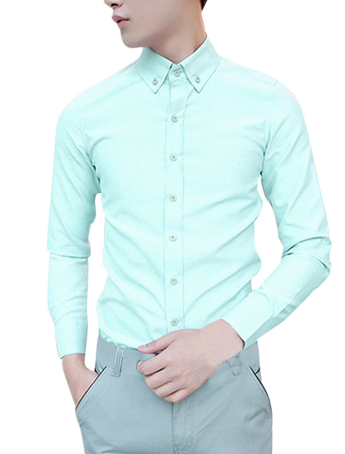 Stylish Mint Color Point Collar Long Sleeved Casual Shirt for Man M