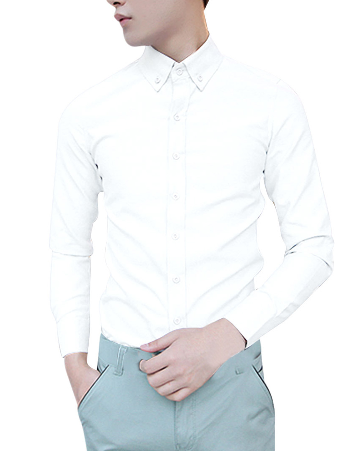 NEW Fashion Pure White Color Single-Breasted Front Casual Shirt for Man M