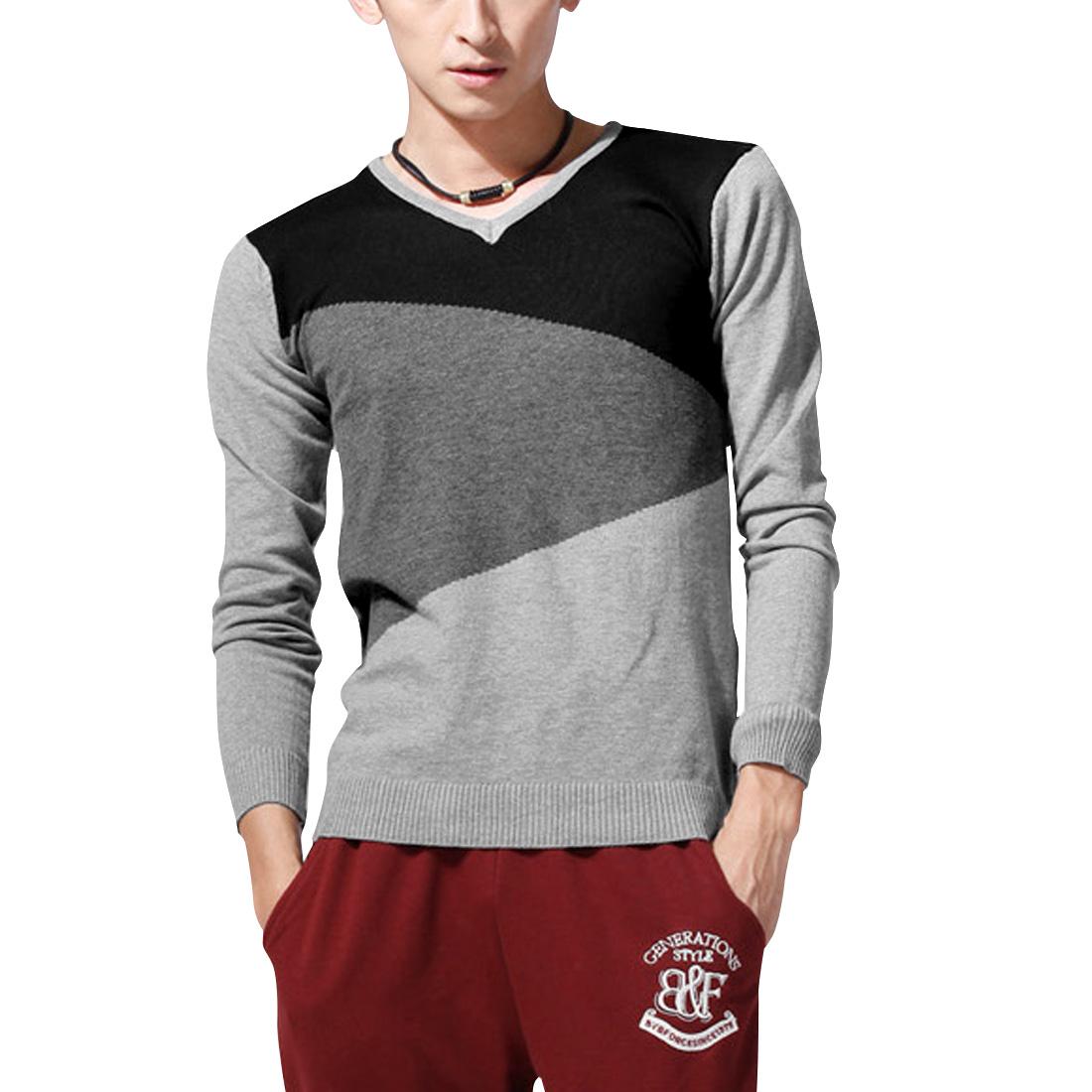 Men Pullover Long Sleeve Color Block Knitted Shirt Black Light Gray S