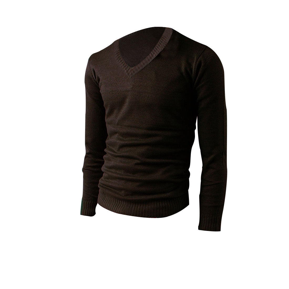 Mens V Neck Long Sleeve Pure Color Dark Brown Spring Fall Knitted Shirt M