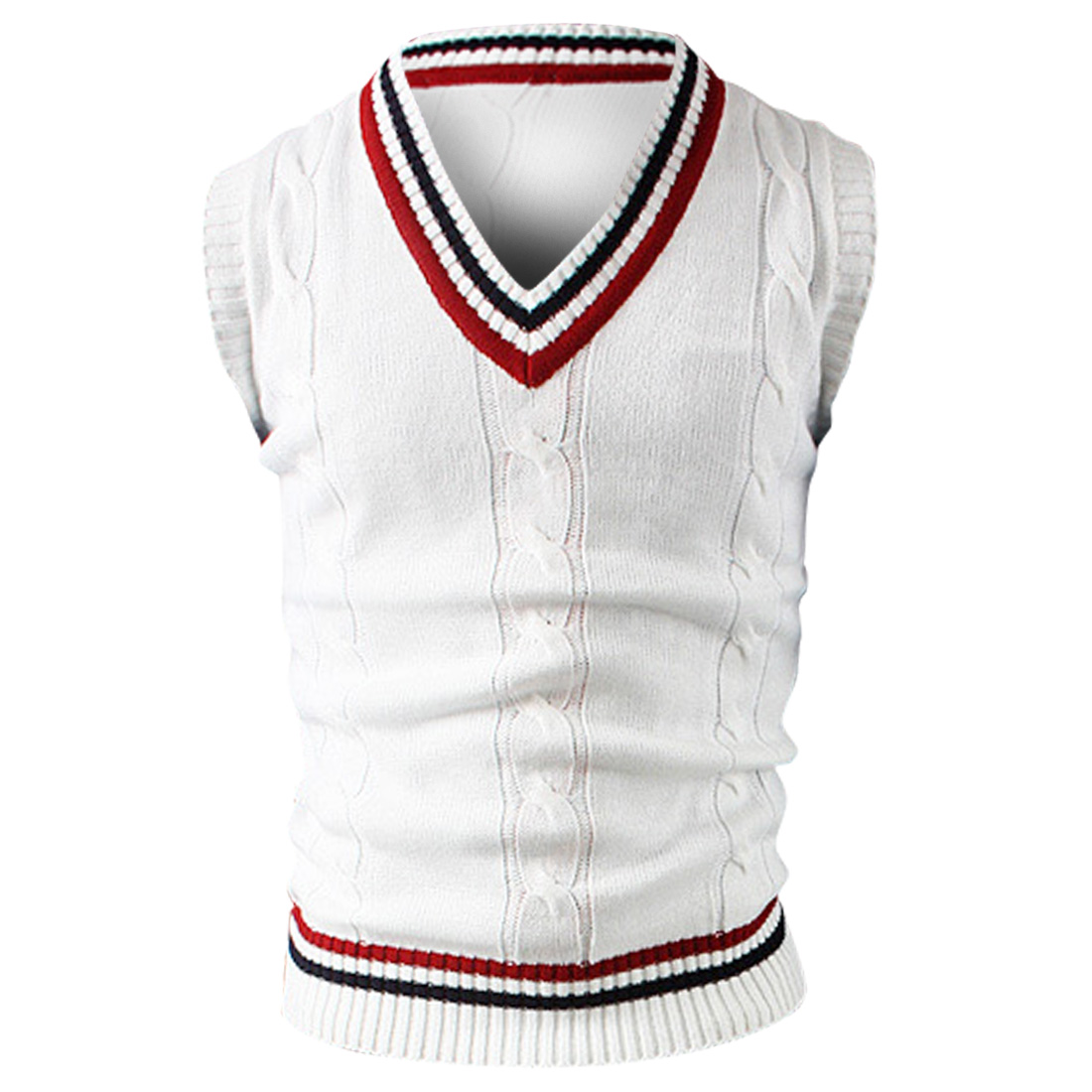 Men V Neck Stripes Detail Sweater Vest White S
