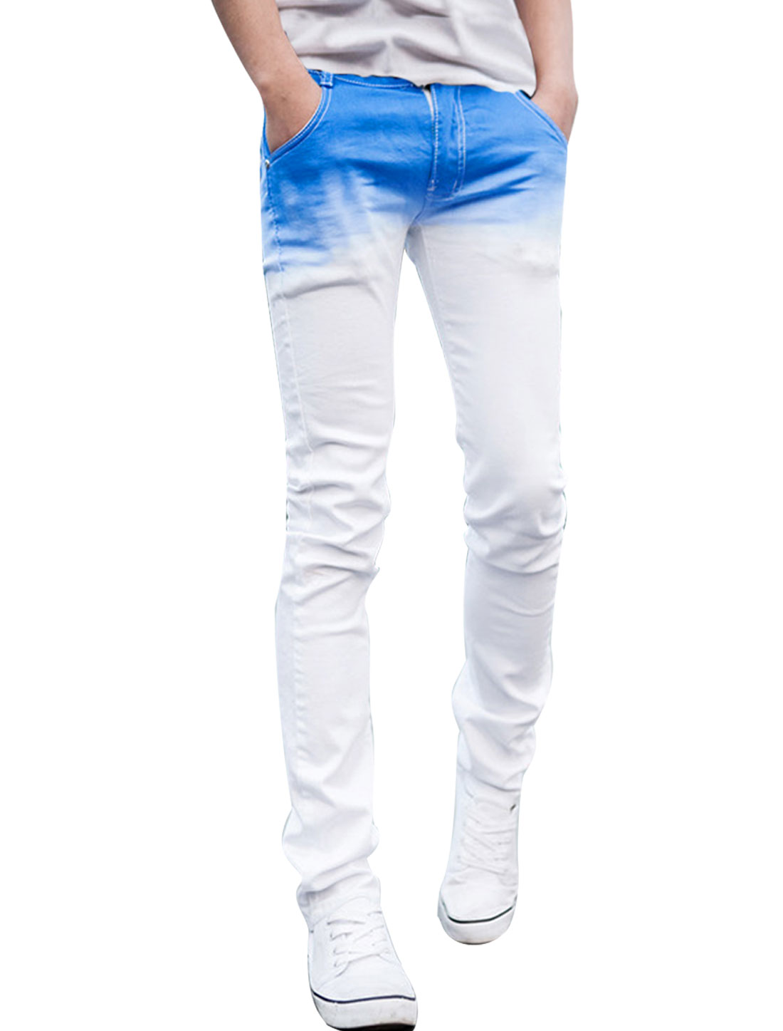 Men Zipper Fly Front Natural Waist Slim Fit Blue White Dip Dye Jeans Pants W28