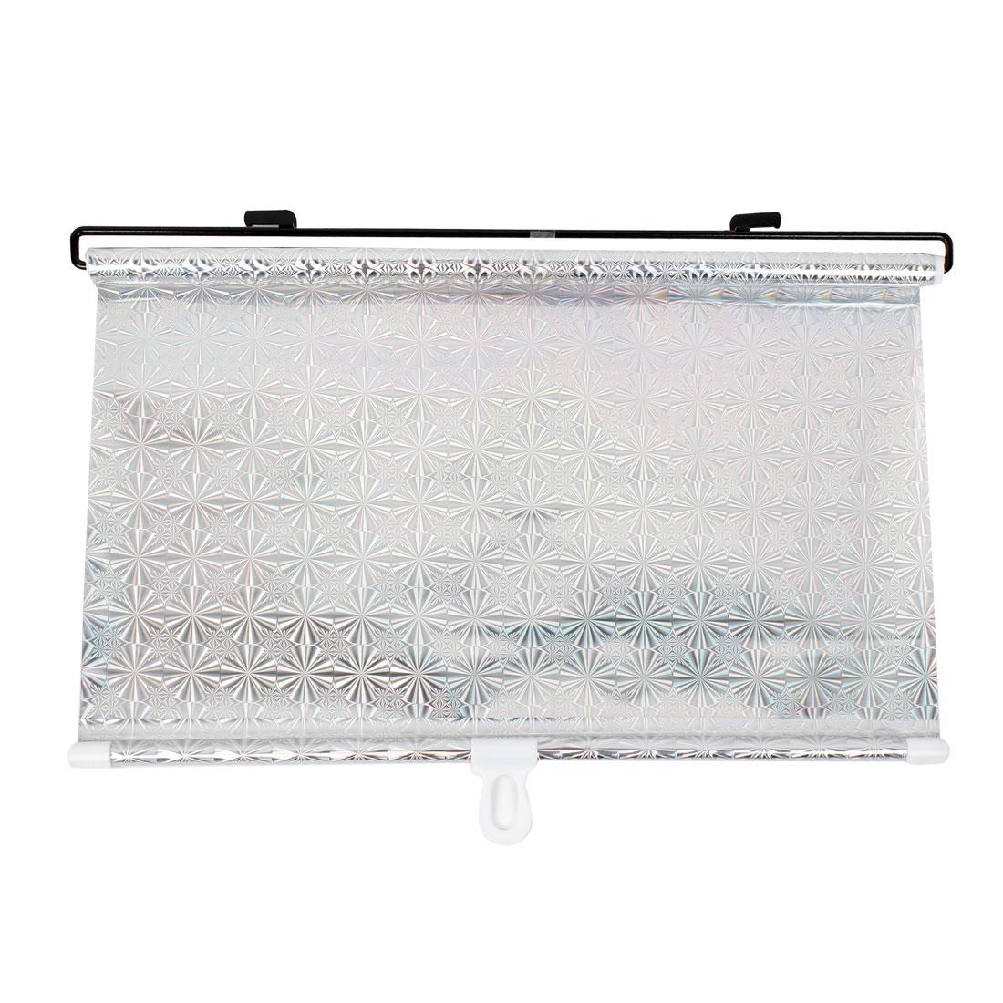 Auto Car Retractable Roll Blind Side Window Sun Shade Silver Tone 40cm x 60cm