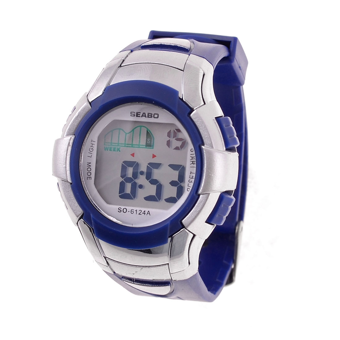 Ladies Adjustable Soft Plastic Band Sports Digital Watch Chronograph Navy Blue