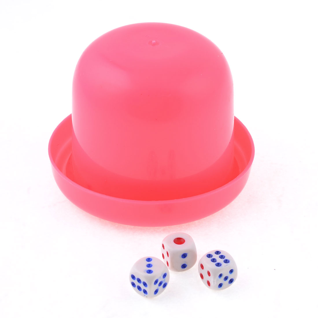 KTV Pub Game Toy Pink Plastic Holder Shaking Cup Box w 5 Dice