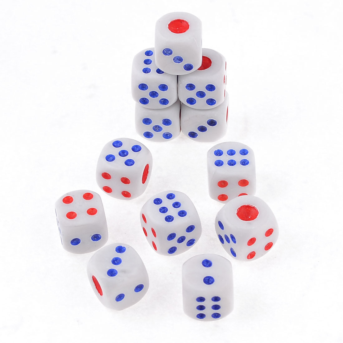 12 Pcs Blue White Red Plastic Gaming Casino Dices