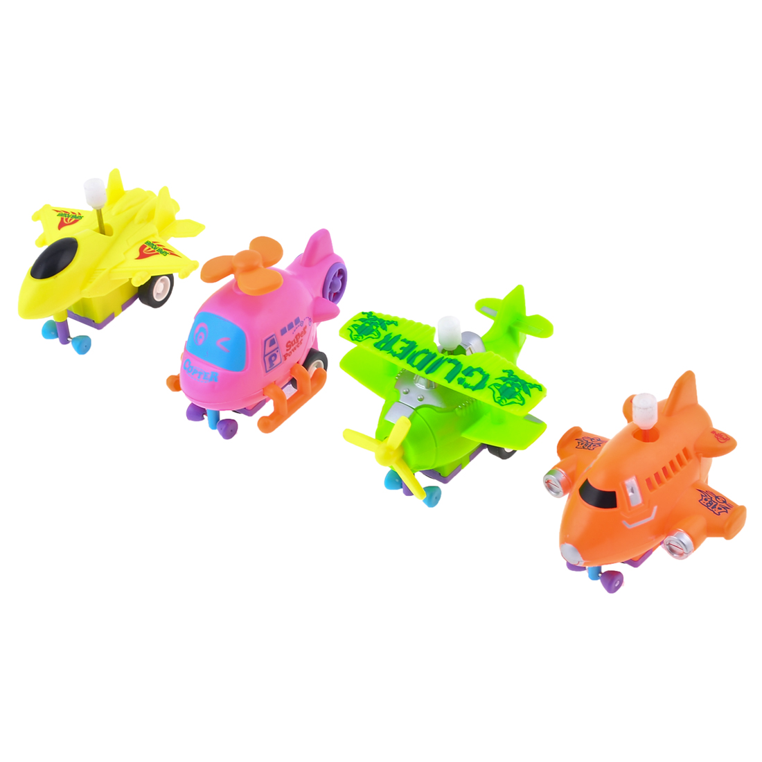 4 Pcs Children Colorful Plastic Clockwork Spring Helicopter Airplane Toy