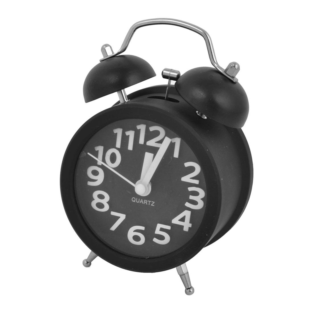 Black Round Metal Battery Powered Night Light 2 Hammer Bells Desk Alarm Clock