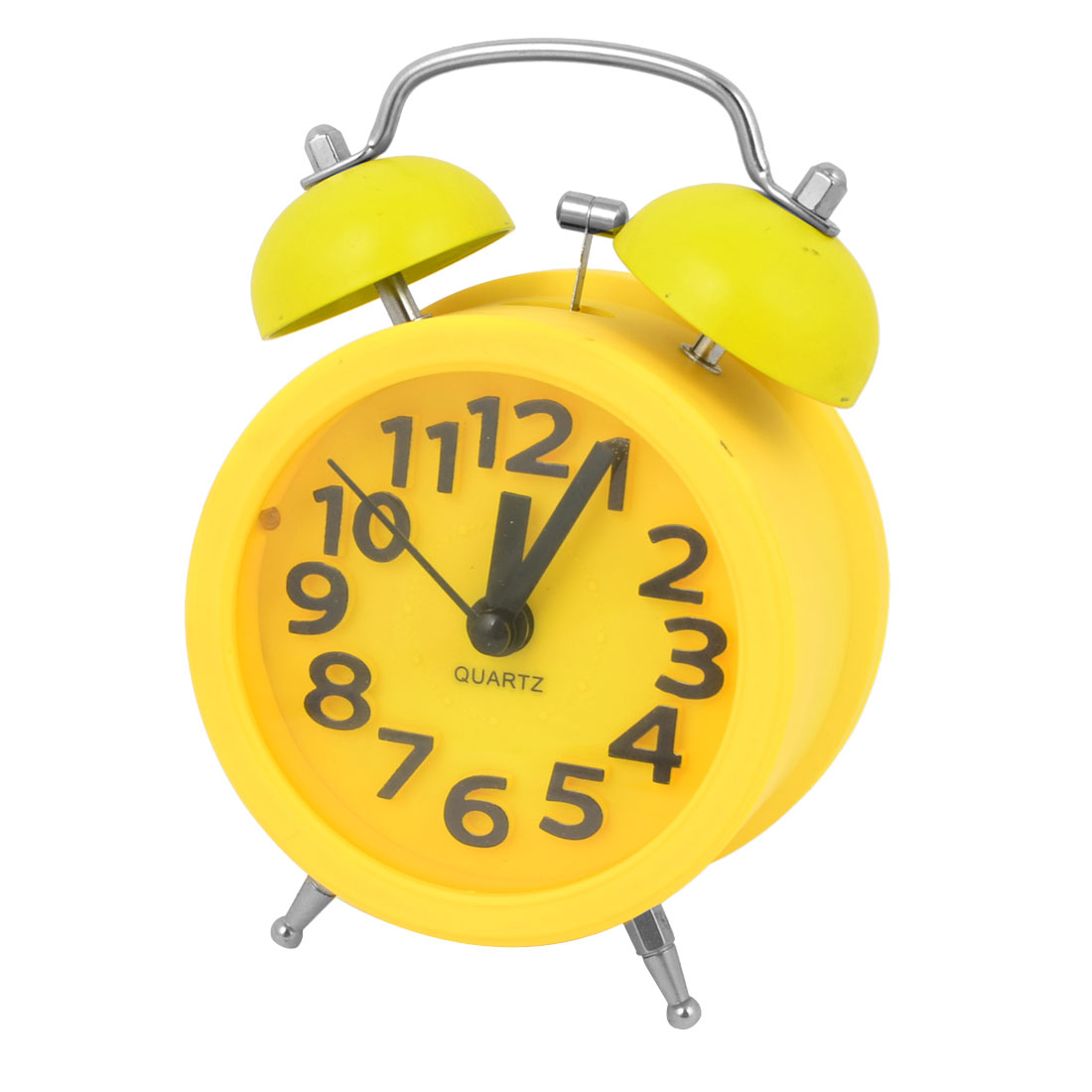 Yellow Metal Battery Powered Night Light 2 Hammer Bells Desk Alarm Clock