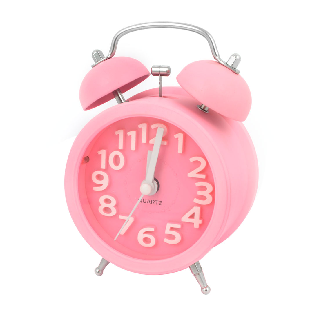 Pink Round Metal Battery Powered Night Light 2 Hammer Bells Desk Alarm Clock