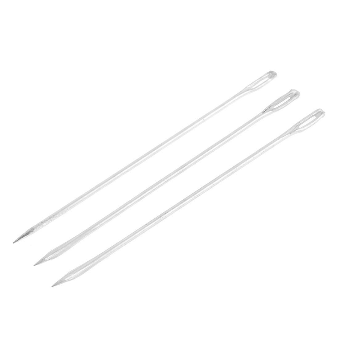 3 Pcs Silver Tone Metal Sack Bag Packing Stitching Needles 13.5cm Length