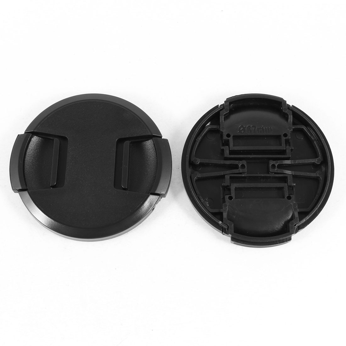2 Pcs 67mm Plastic Clip On Front Lens Cap Cover Black w String