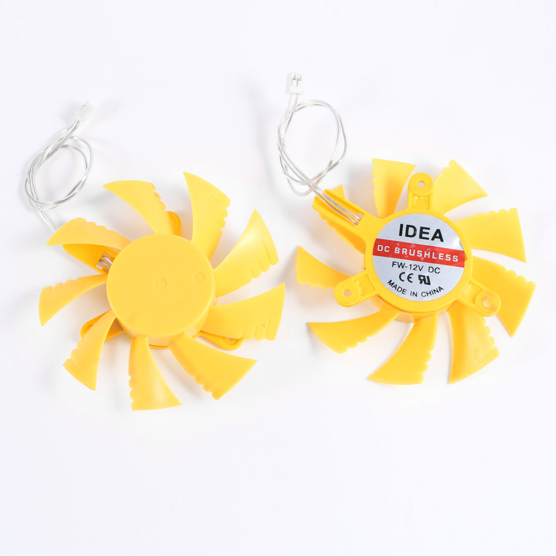 2 Pcs 75mm Yellow VGA Video Card Cooling Fan Cooler for PC Computer