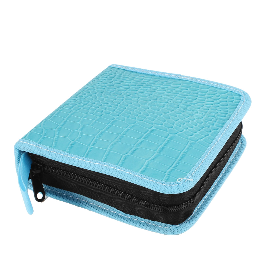 Crocodile Print Sky Blue 18 Capacity CD VCD Disc Wallet Storage Holder Bag Case