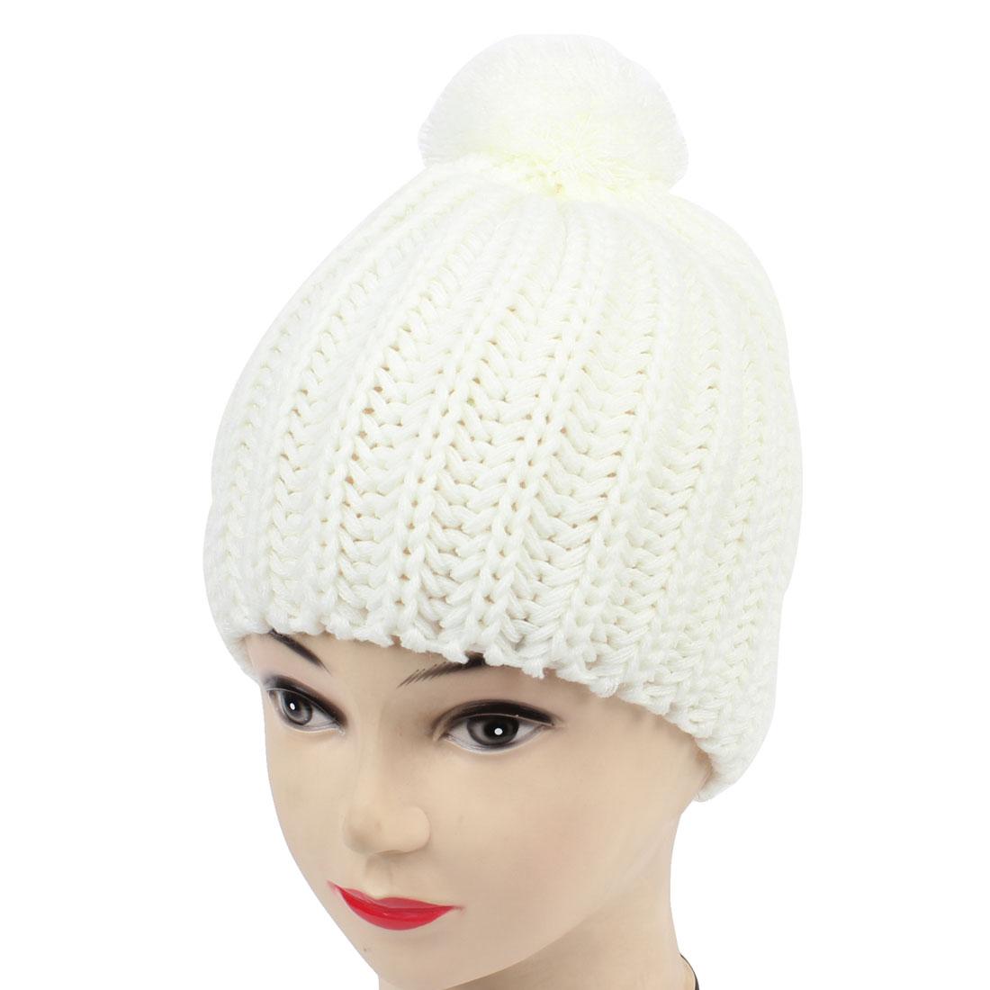 Unisex Stripe Winter Warm Textured Slouchy Knit Cap Beanies White
