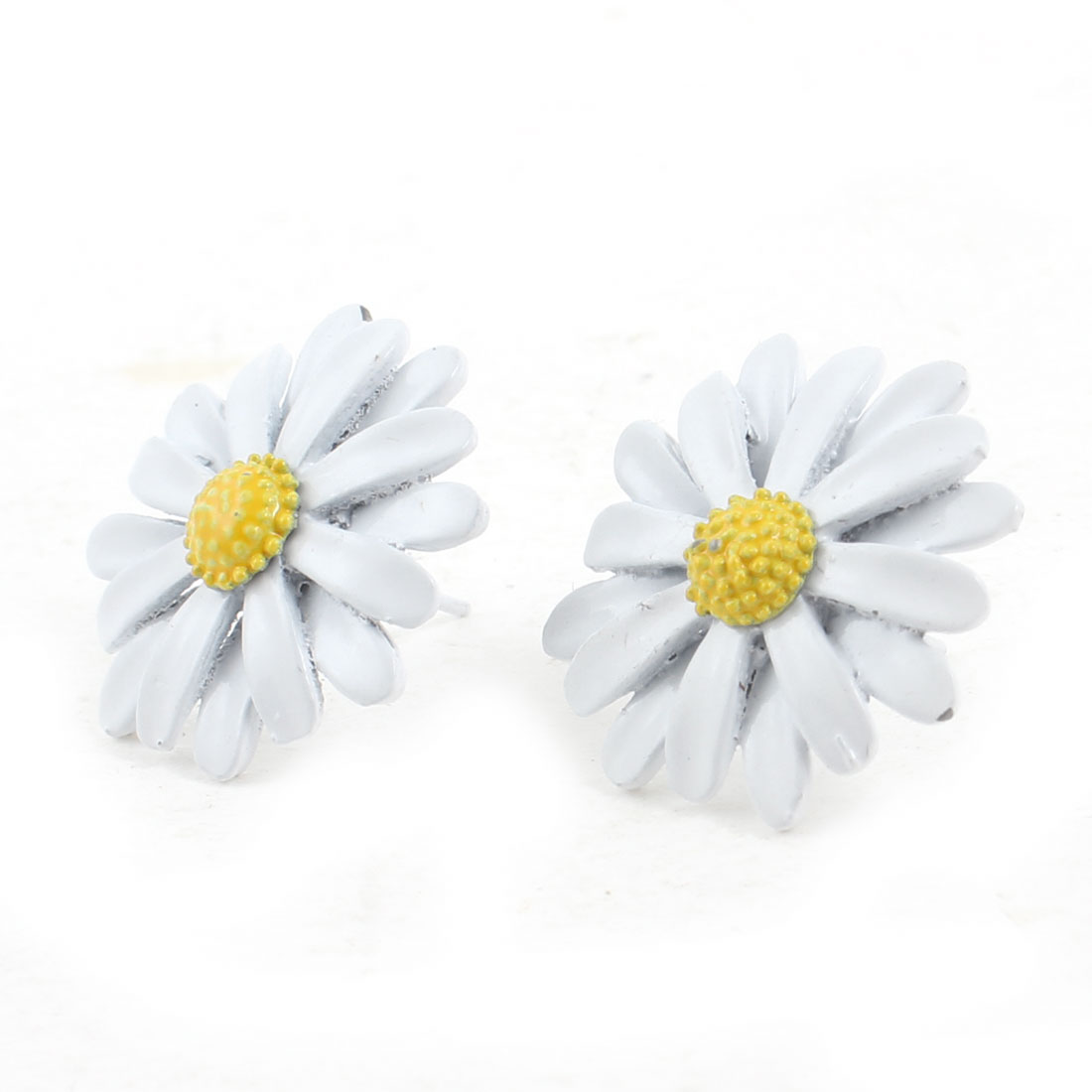 White Yellow Chrysanthemum Floral Stud Earrings for Girl Woman
