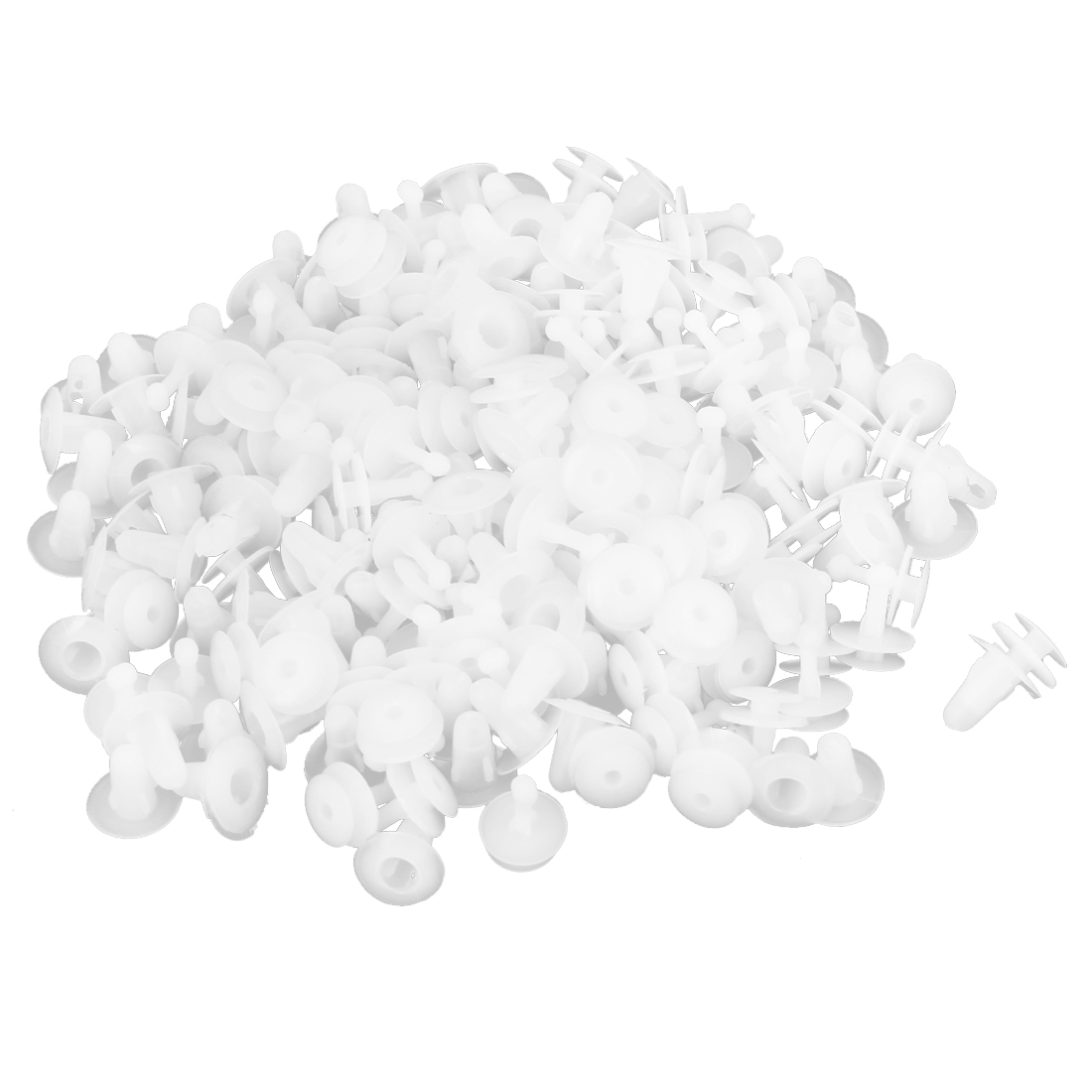 100 x White Plastic Door Fasteners Retainers Clio 7.5mm Hole for Car