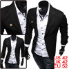Men Three Button Front Long Sleeve Button Decor Blazer Black L