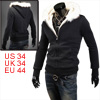 Men's Zip Up Long-sleeved Winter Warm Stylish Black S Hooded Jacket