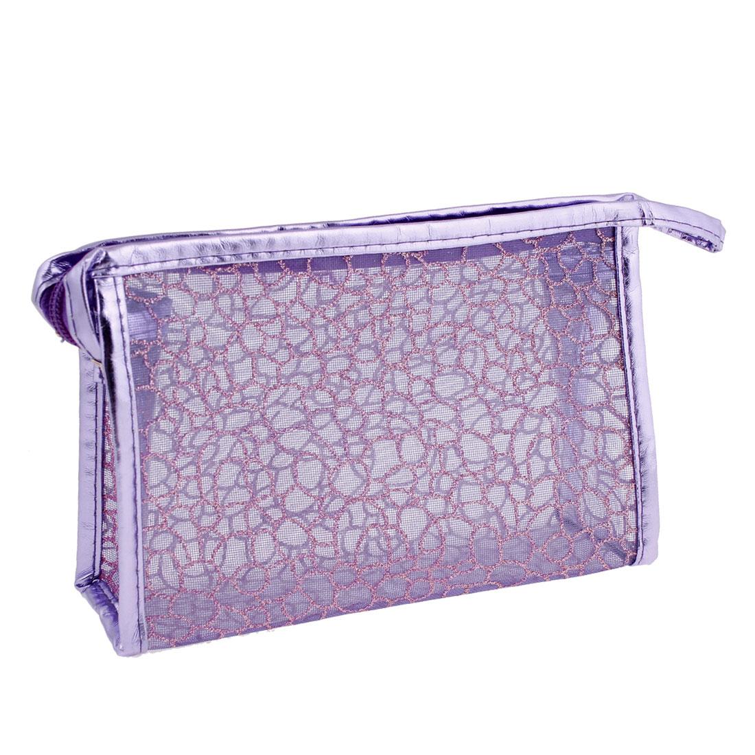 PVC Nylon Texture Zipper Closure Cosmetics Make Up Bag Purple for Ladies