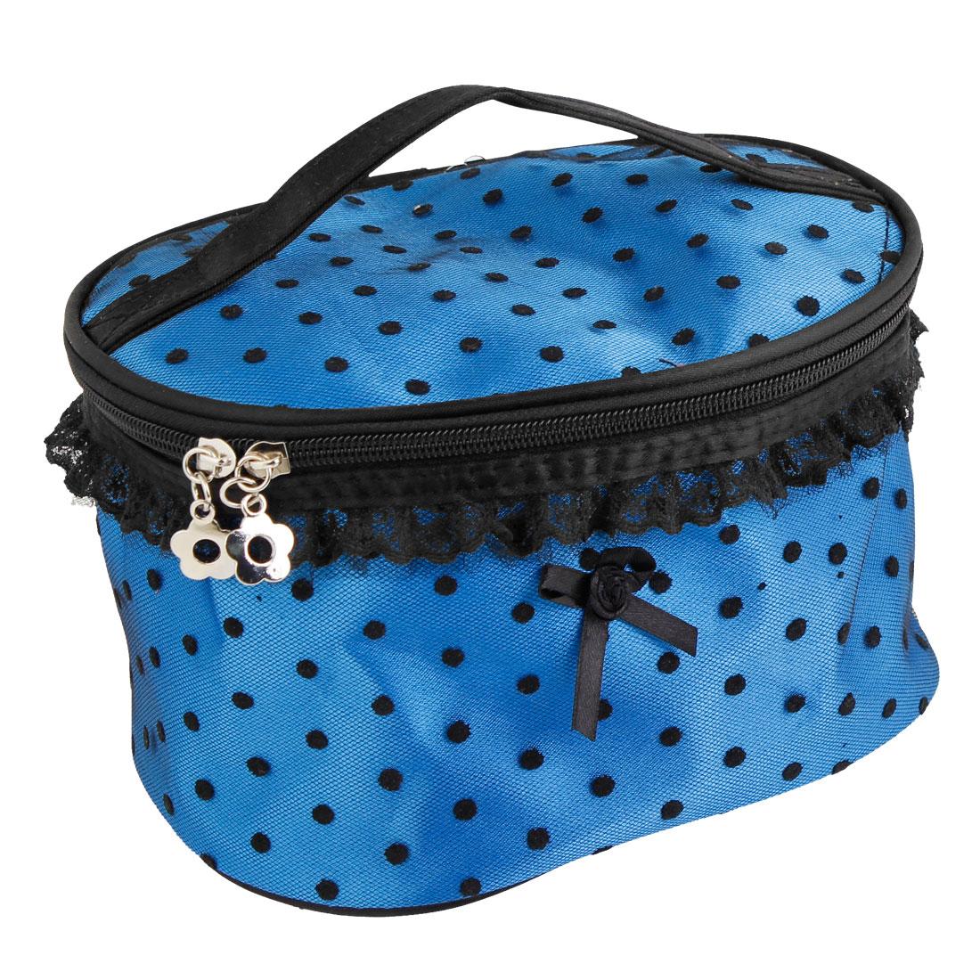 Ladies Blue Nylon Dots Accent Dual Zipper Cosmetic Makeup Handbag Bag