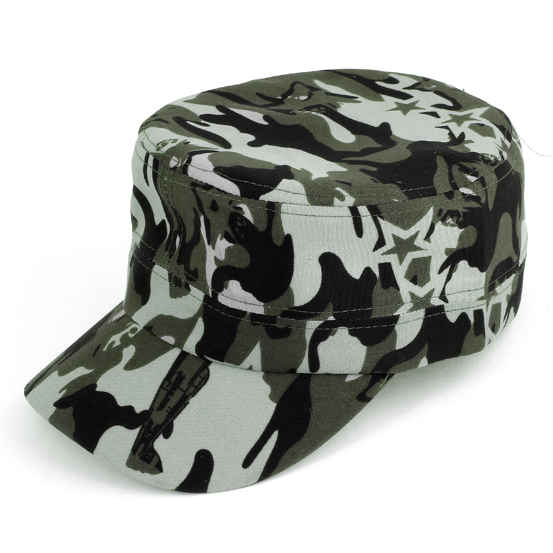 Men Women Camouflage Pattern Army Cadet Cap Visor Hat Zewlt Black Gray