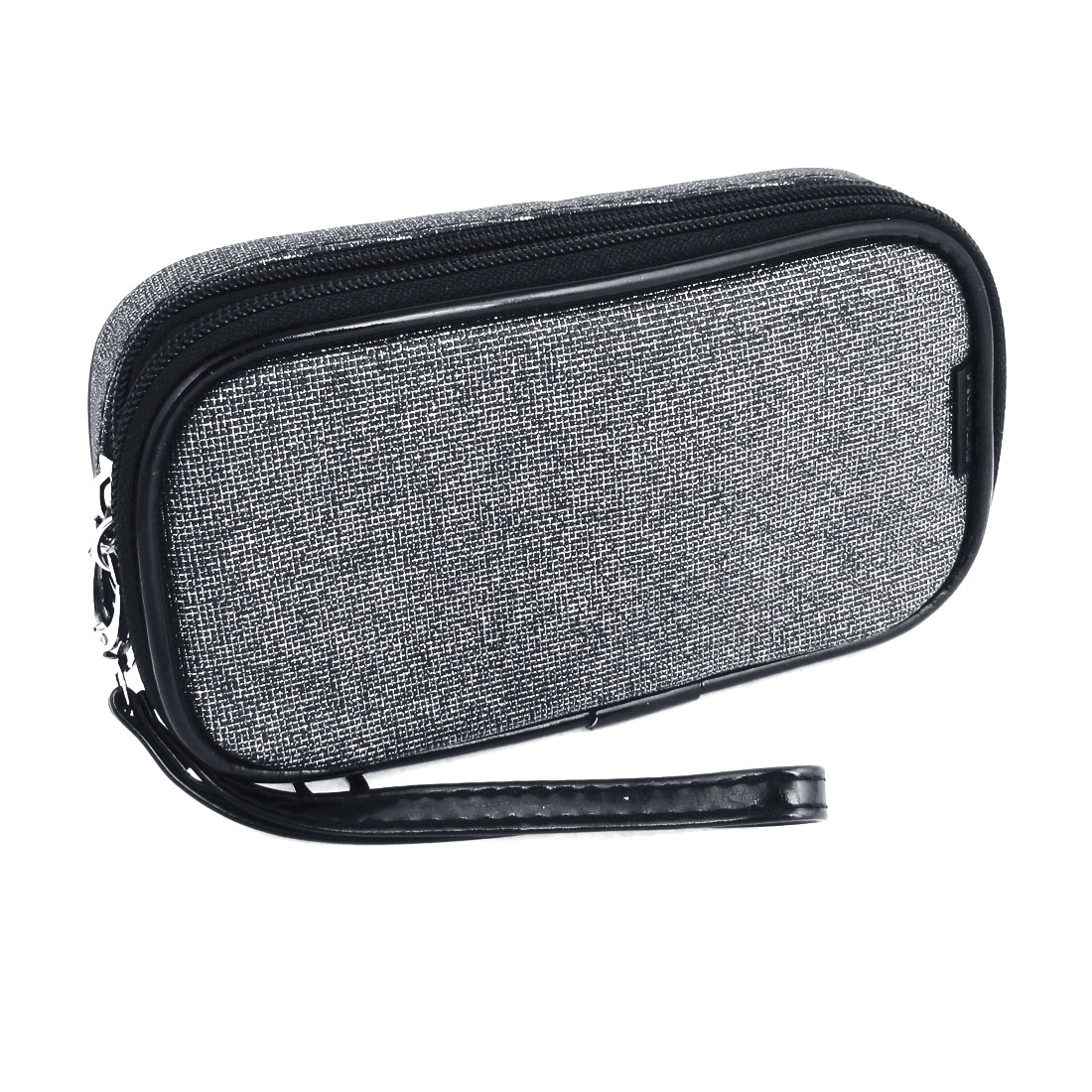 Gray 2 compartments Zipper Cosmetic Bag Purse Wallet w Mirror for Ladies