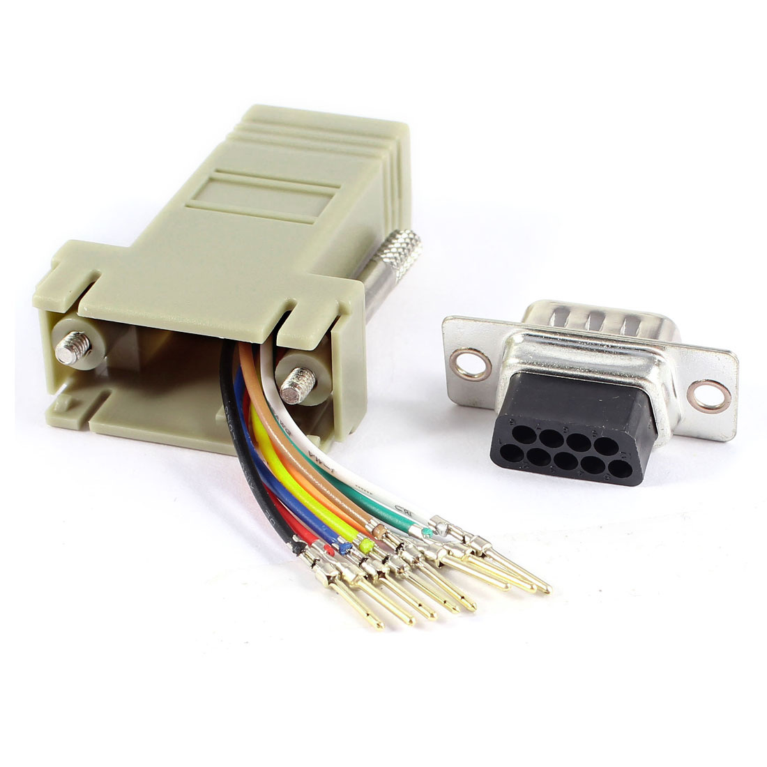 Gray Computer VGA 9 Pin Male to RJ45 Female m/f Jack Adapter Connector