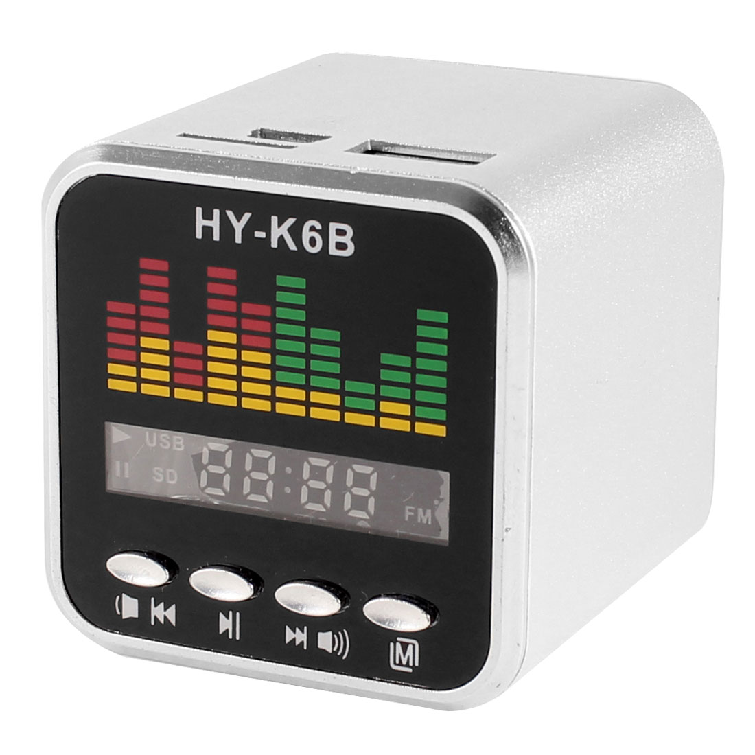 Silver Tone Mini USB TF FM Audio Radio MP3 Player Sound Speaker Amplifier