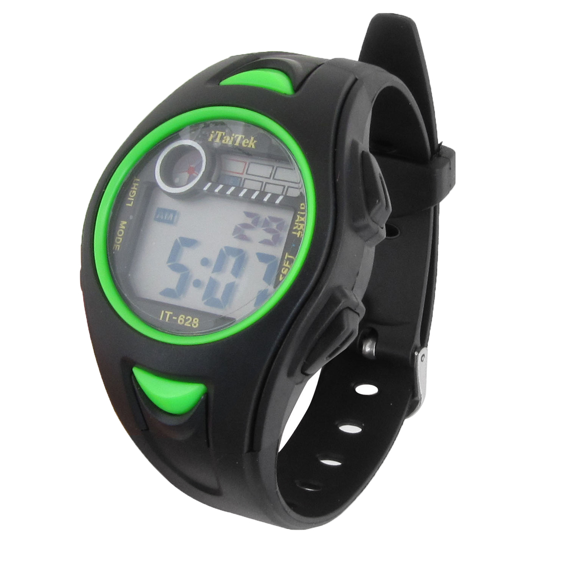 Women Round Dial LCD Display Adjustable Band Alarm Stopwatch Sport Watch Green