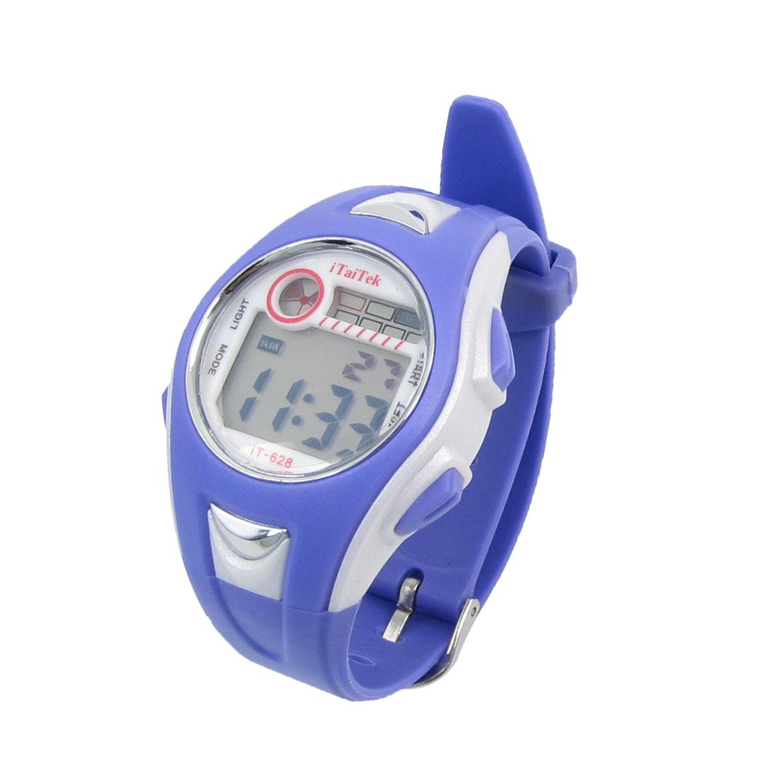 Girls Purple White Round Dial Ajustable Watchband Alarm Stopwatch Sport Watch