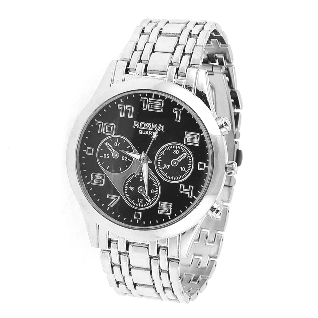 Gentleman Silver Tone Stainless Steel Arabic Number Round Dial Quartz Watch