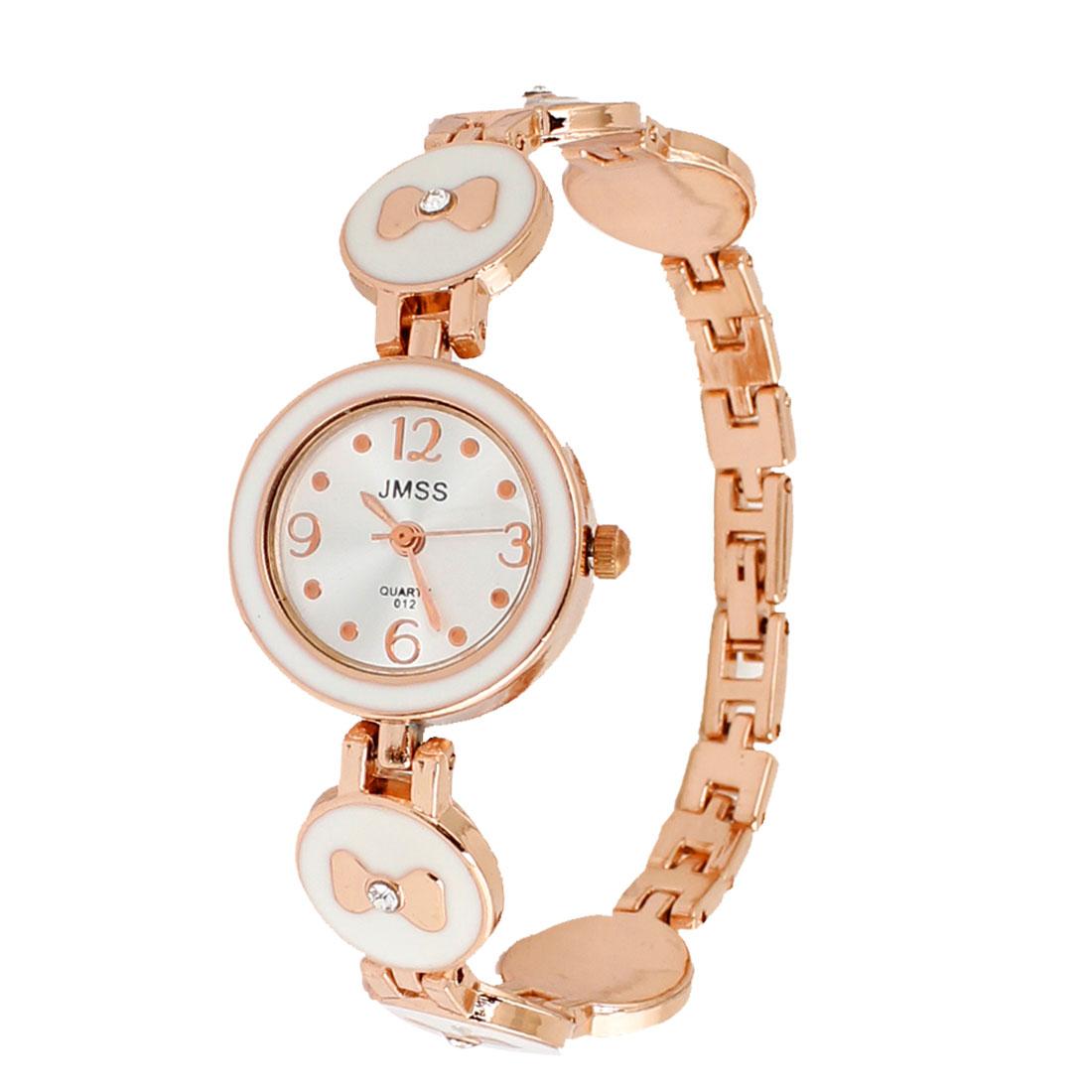 Copper Tone Ivory Bowknot Decor Round Dial Quartz Wrist Watch for Women